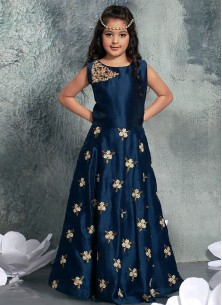 Floral Style Navy Blue Chennai Silk Gown For Cute