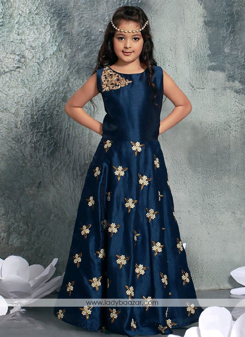 1acce443c243 Floral Style Navy Blue Chennai Silk Gown For Cute Baby