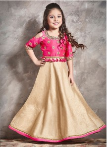 Floral Style Pink With Cream Chennai Silk Gown