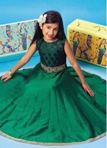 Floral Style Green Gown For Cute Baby