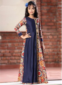 Stylish Navy Blue   Gown For Cute Baby