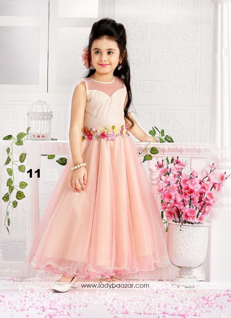 peach color gown for cute baby