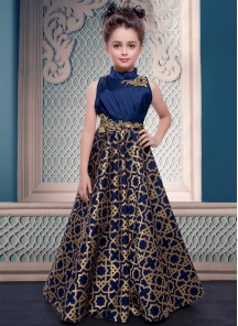 Floral Style Navy Blue  Gown For Cute Baby