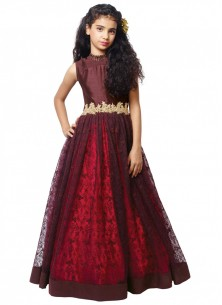 Style Maroon  Gown For Cute Baby