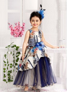 Stylish White And Navy Gown For Cute Baby