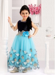 Navy And Sky Blue Gown For Cute Baby