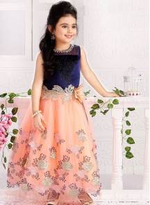 Navy And Peach Gown For Cute Baby
