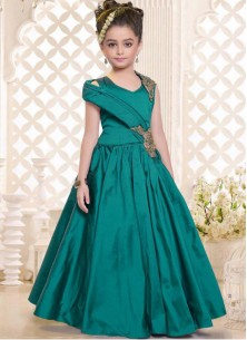 Stylish Teal Green Gown For Cute Baby