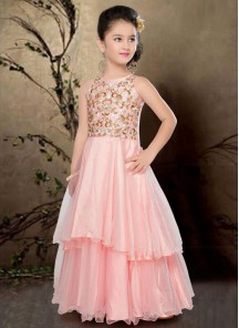Floral Style Peach Gown For Cute Baby