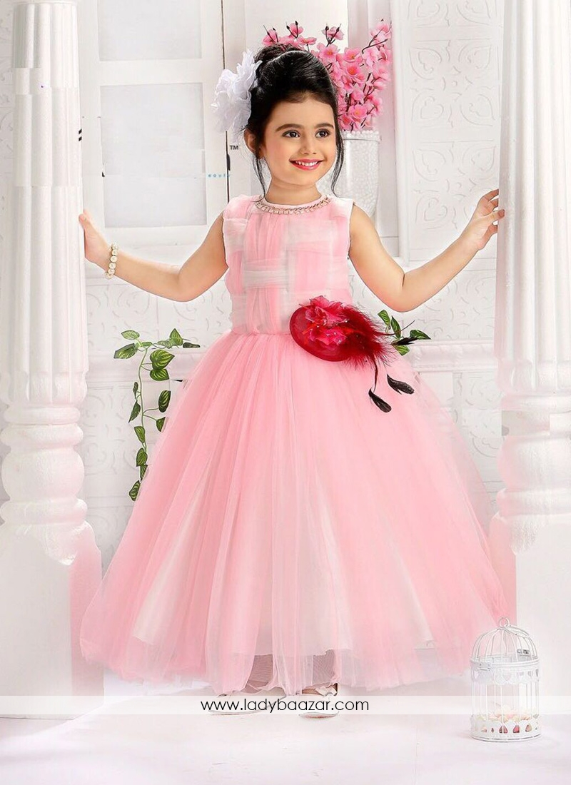 stylish pink color gown for cute baby