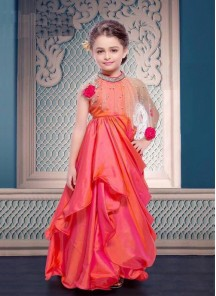 Floral Style Orange Gown For Cute Baby