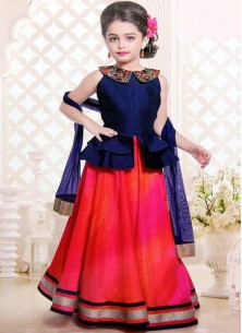 Floral Style Navy Gown For Cute Baby