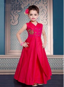 Floral Style Pink Gown For Cute Baby