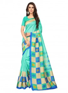 Genius Bhagalpuri Silk Turquoise  Color Casual Saree
