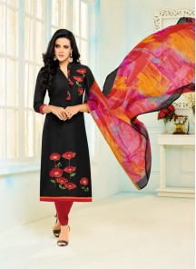 Genius Black Chanderi Printed Straight Suit