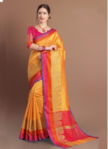 Geometric Jacquard Woven Design  Saree