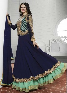 Charming navy blue Georgette Anarkali Suit