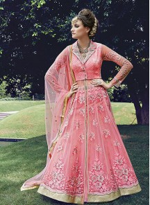 Net and Georgette Pink embroidered work Anarkali Suit