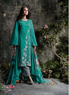 Georgette Embroidered Designer Palazzo Suit In Teal
