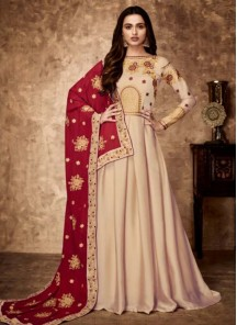 Georgette Floor Length Anarkali Suit In Peach