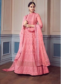 Georgette Pink Embroidered Work Anarkali Suit
