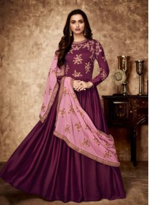Georgette Purple Resham Floor Length Anarkali Suit