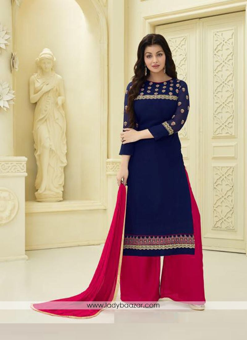 6597852ca5 Gilded Navy Blue Faux Georgette Embroidery Work Palazzo Style Salwar Suit