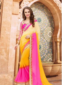 Gilded Pink With Yellow  Designer Saree For Party