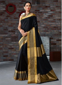 Girlish Printed Black Cotton Silk Casual Saree