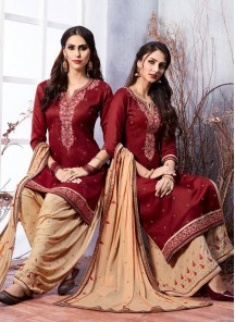Girlish Red Embroidered Work Designer Patiyala Suit