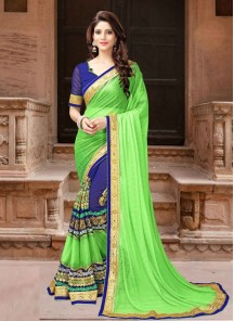 Glamorous Blue With Light Green Designer Traditional Saree
