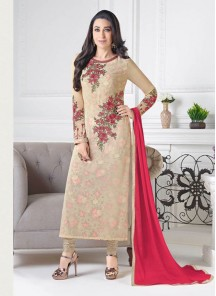 Glamorous Cream Crepe  Embroidery Work Straight Suit