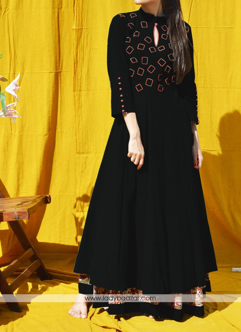 Glamorous Embroidered Linen silk Indo-western Double Layer anarkali dress