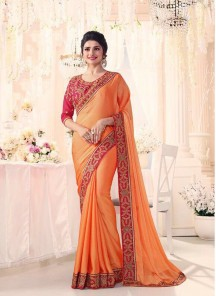 Glamorous Silk Embroidery Work Orange Designer Saree