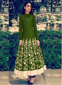 Gleaming Green Embroidered Work Anarkali Salwar Kameez