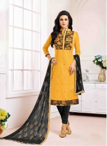 Gleaming Mustard Cotton Printed Dress
