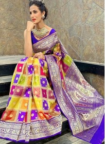 Gleaming Satin Silk Abstract weaving Print Multi Designer Saree