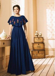 Glorious Blue Tafeta Silk Readymade Gown