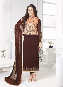 Glorious Brown Georgette Embroidery Work Salwar Suit