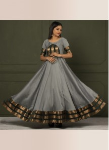 Glorious Grey Colored Festive Wear Woven Tapetta Silk Gown