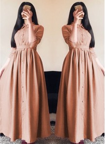 Glorious Linen Silk Dark Peach Designer Wear Western Gown