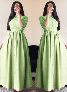 Glorious Linen Silk Parrot green Designer Wear Western Gown