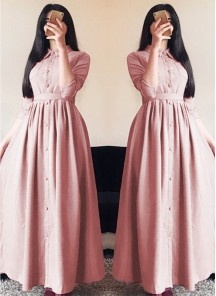 Glorious Linen Silk Pink Designer Wear Western Gown