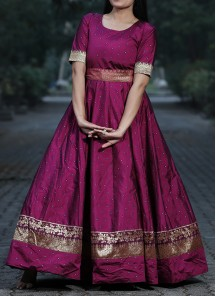 Glorious Purple Colored Partywear Jacquard Silk  Ready Made Gown