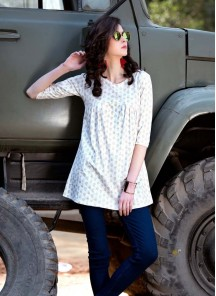 Glorious  White Printed Cotton With Lycra Casual Western wear
