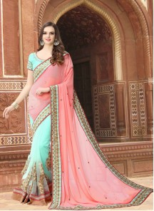 Glossy Embroidered Work Pink With Turquoise Half N Half Saree