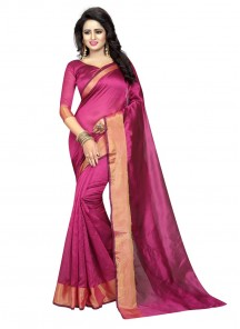 Glossy Pink Cotton Silk Printed Casual Saree