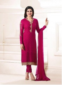 Glossy Red Brasso Embroidery Work Straight Suit