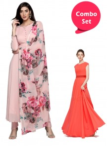 Glowing Gorgette Gown & Straight Plain Salwar Suit With Digital Printed Dupatta - Pack of 2