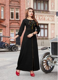 Glowing Hand Work Denim Wear Kurti